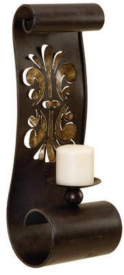 Artistically Designed Metal Candle Sconce - 56446 by Benzara