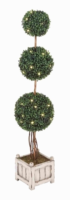 Triple Boxwood Ball Tree with Sublime Curves For Outdoor Setting Brand Woodland