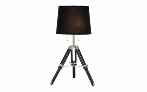 Tripod Desk Lamp with Adjustable Height, Wood and Metal Table Lamp Brand Woodland