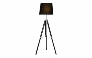 Tripod Floor Lamp with Adjustable Height, Wood and Metal Floor Lamp Brand Woodland