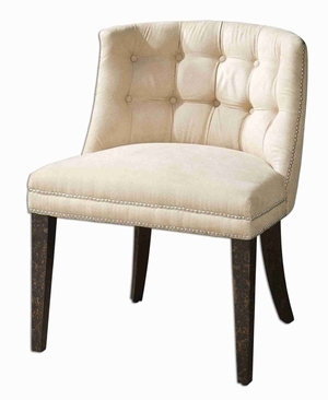 Trixie Slipper Chair With Solid White Mahogany Frame Brand Uttermost