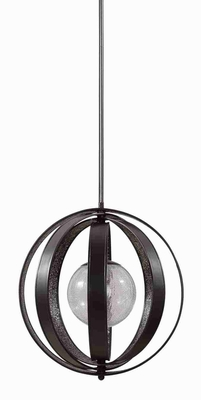 Trofarello 1 Light Black Pendant Lamp With Matte Rings and Glass Brand Uttermost