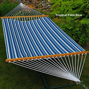 Tropical Palm Stripe Blue 11' Fabric hammock by Alogma