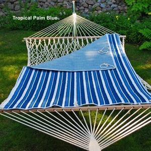 Tropical Palm Stripe Blue/ Norway Powder Blue Quilted Reversible Hammock Pad by Alogma