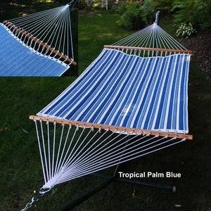Tropical Palm Stripe Blue/ Norway Powder Blue Reversible Quilted Hammock by Alogma