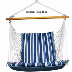 Tropical Palm Stripe Blue or Norway Powder Blue Soft Hanging Chair by Alogma