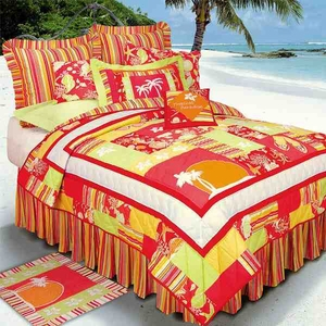 Tropical Paradise Cotton Hawaiian Quilt Queen  Bedding Ensembles Brand C&F