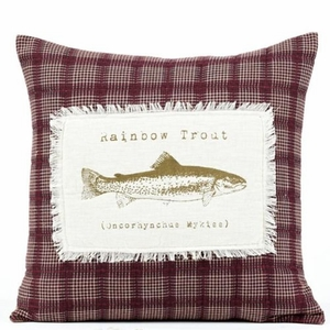 "Truman Pillow Quilted Trout 16X16"" Brand VHC"