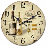 Trumpeting Circular Wooden Wall Clock with Two Bottles of Wine Print by Yosemite Home Decor