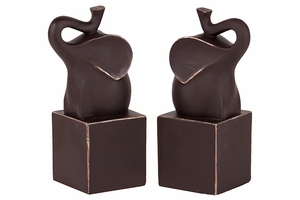 Trumpeting Resin Elephant Figurine Bookend Set of Two in Chocolate Brown Shade