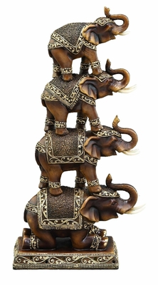 Trunk Up Elephant Cold Cast Statue Sculpture - Stack of 4 Brand Woodland