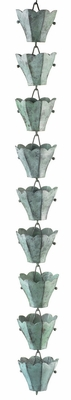 18 Cup Tulip Rain Chain - Blue Verde Copper by Good Directions