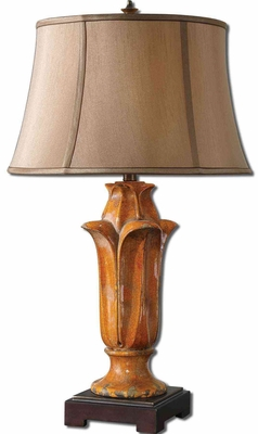 Tulipano Orange Table Lamp with Rust Distressing Brand Uttermost