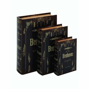 Turkish Wood Leather Book Box Set Brand Benzara
