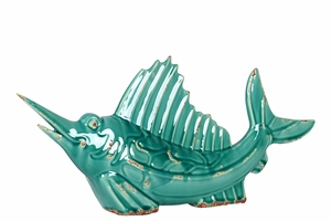 Turquoise Colored Fish with an Elongated Mouth and Unique Fins by Urban Trends Collection
