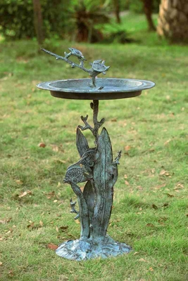 Turtle & Fish Sundial / Birdbath Adds Seashore Attraction Brand SPI-HOME
