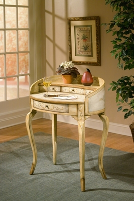 "Tuscan Cream Hand Painted Ladies Writing Desk 30""W by Butler Specialty"
