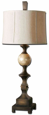 Tusciano Bronze Table Lamp with Stain Capiz Shell Ball Brand Uttermost
