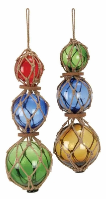 Two Glass Jute Floats in Multi-colours with Versatile Style Brand Woodland