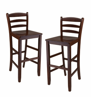 "Two Lovely 29"" Ladder Back Bar Wooden Traditional Stools by Winsome Woods"