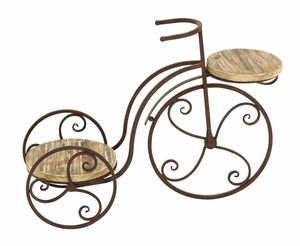 Garden Two Shelf Tricycle Planter Stand For Your Plants - 66555 by Benzara