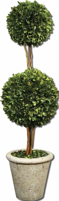 Two Sphere Topiary Preserved Boxwood Potted in Planter Brand Uttermost