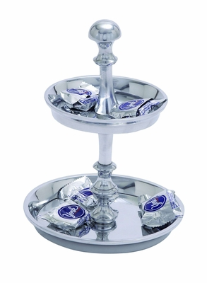 Two Tier Pedestal Aluminum Candy Tray Unique Brand Woodland