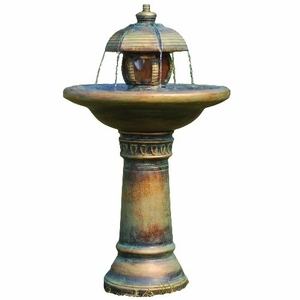 Two Tiered Garden Fountain With LED Light Its Sculpture Makes It Great Brand Domani