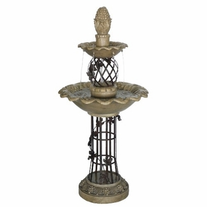 Two Tiered Garden Fountain With Two Double Scalloped Bowl Trays Brand Domani