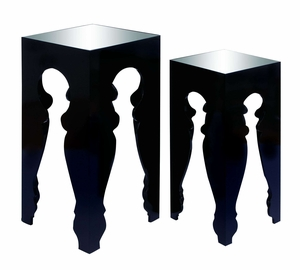 Ultra Modern Black End Table With Mirror Table Top Brand Woodland