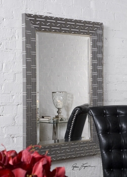 Ultra Modern Vanity Mirror With Sleek Weave Inspired Frame Brand Uttermost