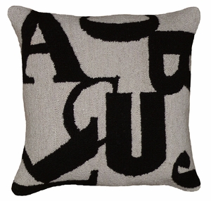 "Understanding with Letters Black Gray Hooked Pillow 16x16"" by 123 Creations"