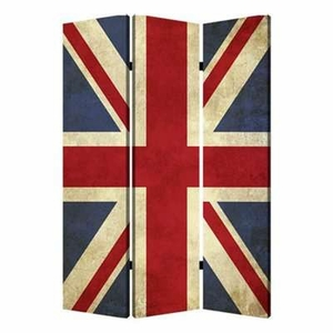 Union Jack 3 Panel Screen with Artistic Detailing on Canvas Brand Screen Gem
