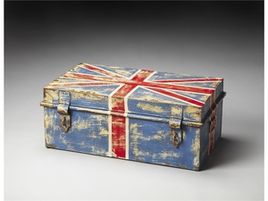 "Union Jack Iron Storage Trunk 27.25""W by Butler Specialty"