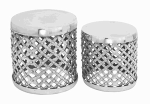 Unique Aluminium Stool with Shimmering Finish (Set of 2) Brand Woodland