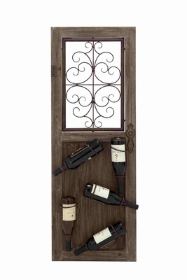 Unique and Antique Themed Wooden Metal Wine Rack Brand Benzara