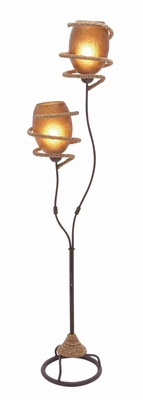 Unique and Attractive Metal Rope Floor Lamp in Golden Brown Brand Woodland
