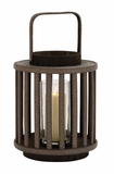 Unique and Attractive Round Shaped Wood Glass Lantern by Woodland Import