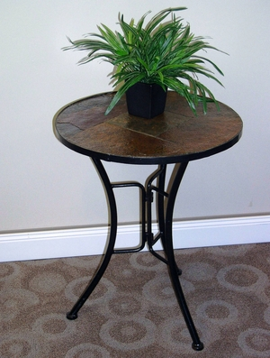Unique and Attractive Slate Round Top Coffee Table by 4D Concepts