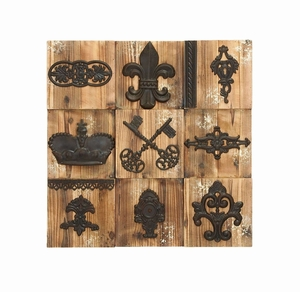 Unique And Charming Regal Wall Plaque With Aged Wood Brand Woodland
