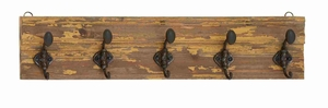 Unique and Classy Wooden Wall Panel with Metal Hooks Brand Benzara