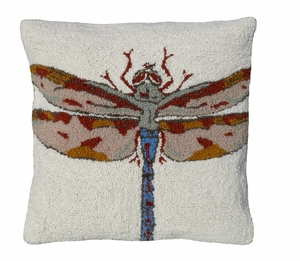 "Unique and Distinctive Dragonfly Hooked Pillow 18x18"" by 123 Creations"
