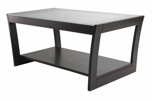Unique and Elegant Dark Espresso Coffee Table with Frosted Glass and Curved Legs by Winsome Woods