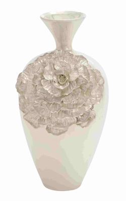 Unique and Floral Designed Oyster Shell Ceramic Vase Brand Benzara