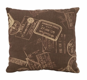 Unique And Fun Paris Passport Themed Pillow With Brown Fabric Brand Woodland
