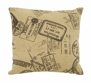 Unique And Fun Paris Passport Themed Pillow With Tan Color Fabric Brand Woodland