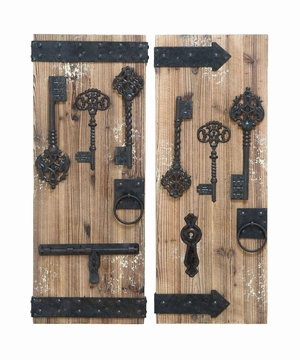 Unique And Magical Key Door Wall Plaque Set With Aged Wood Brand Woodland