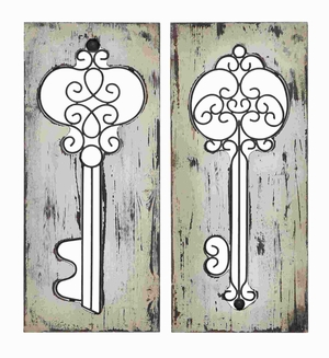 Unique and Modern Design Wood Metal Wall Panel (Set of 2) Brand Woodland