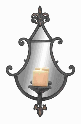 Unique and Simple Metal Mirror Candle Sconce with Fluted Design Brand Woodland