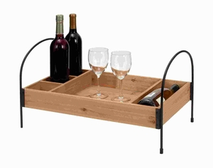 Wood Metal Wine Tray in Elegant Design - 93709 by Benzara